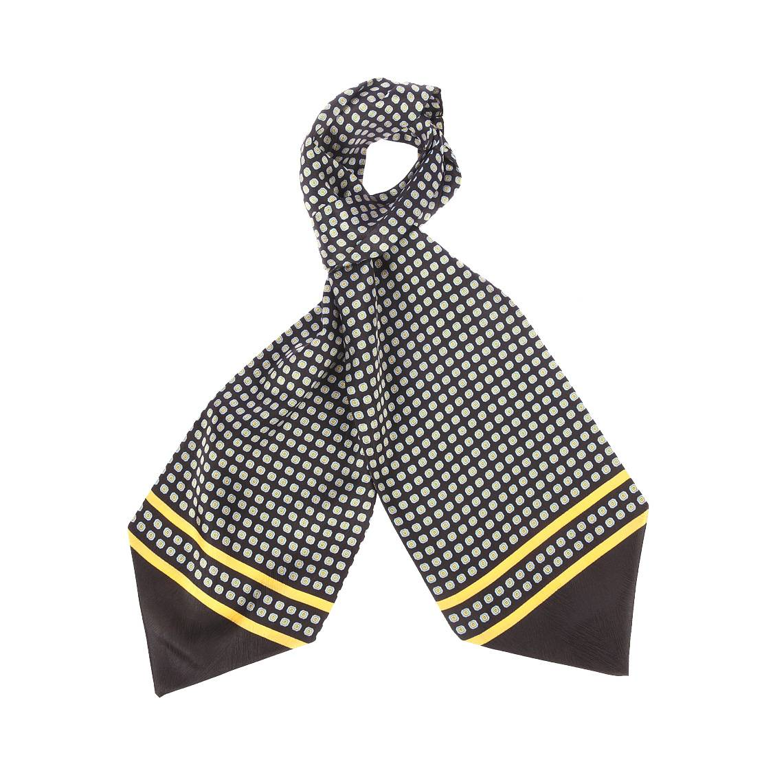 Foulard ascot à nouer en soie  noir à motifs carrées jaunes