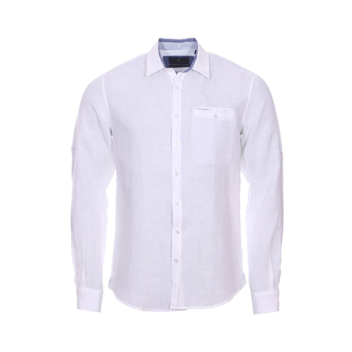 Chemise droite Izac casual en lin blanc