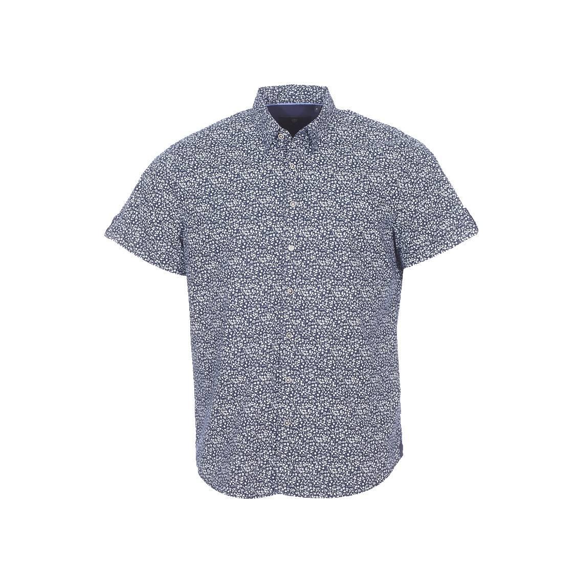 Chemise manches courtes Izac casual en coton bleu marine à imprimés fleuris blancs