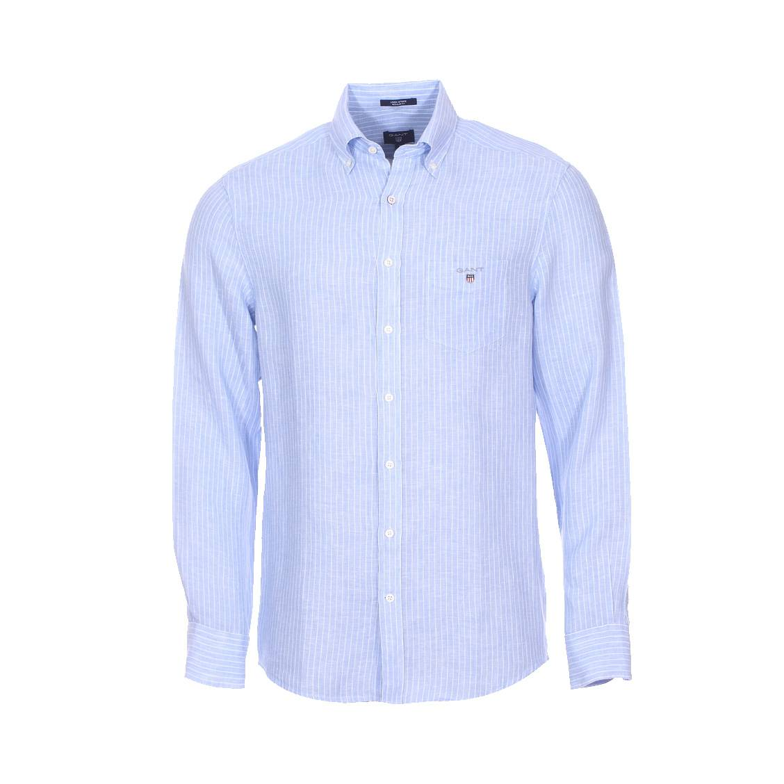 chemise droite gant en lin bleu ciel rayures blanches rue des hommes. Black Bedroom Furniture Sets. Home Design Ideas