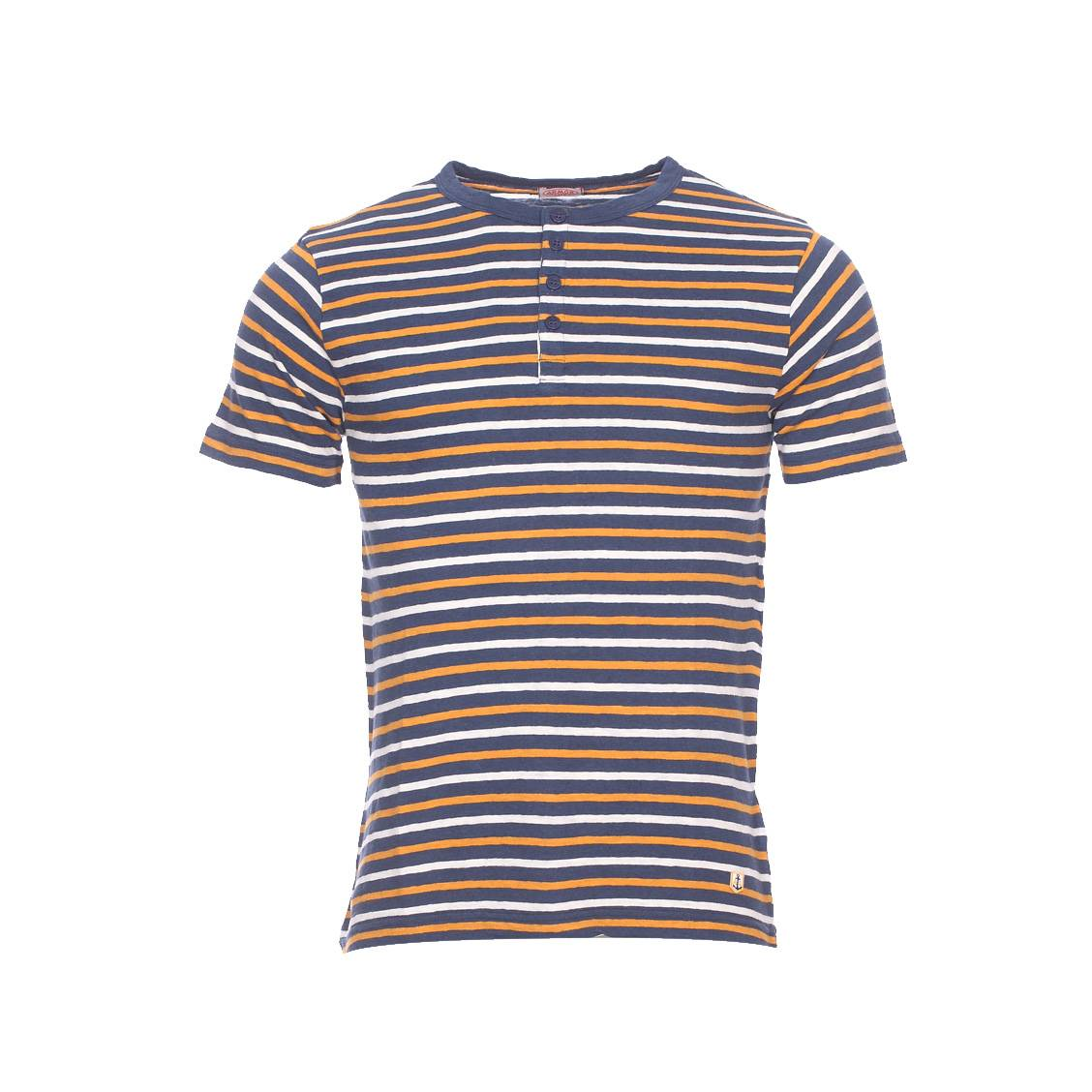 tee shirt col tunisien armor lux en coton et en lin bleu marine rayures blanches et jaune. Black Bedroom Furniture Sets. Home Design Ideas
