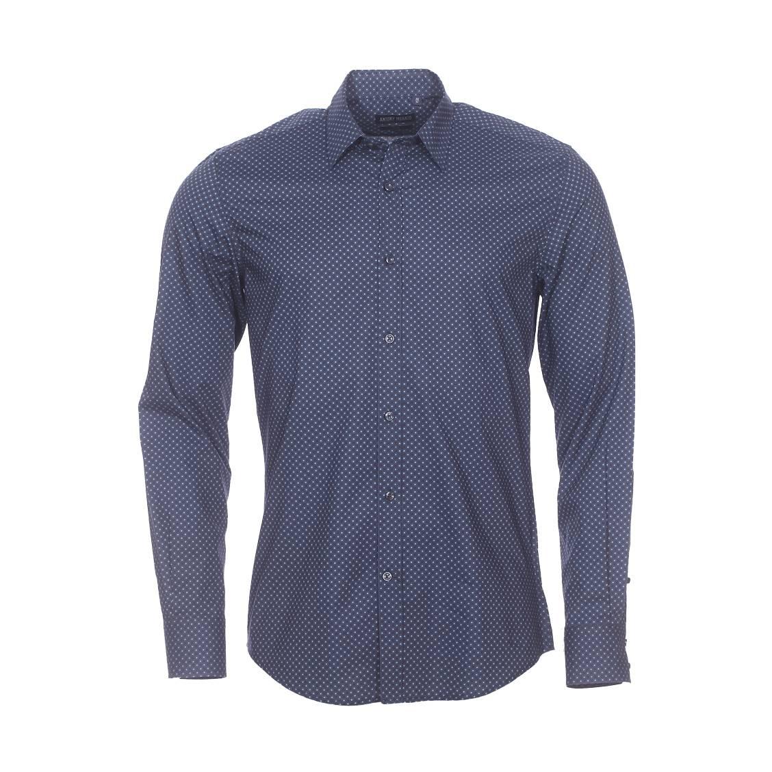 Chemise cintrée Antony Morato en coton bleu marine à pois bleu clair