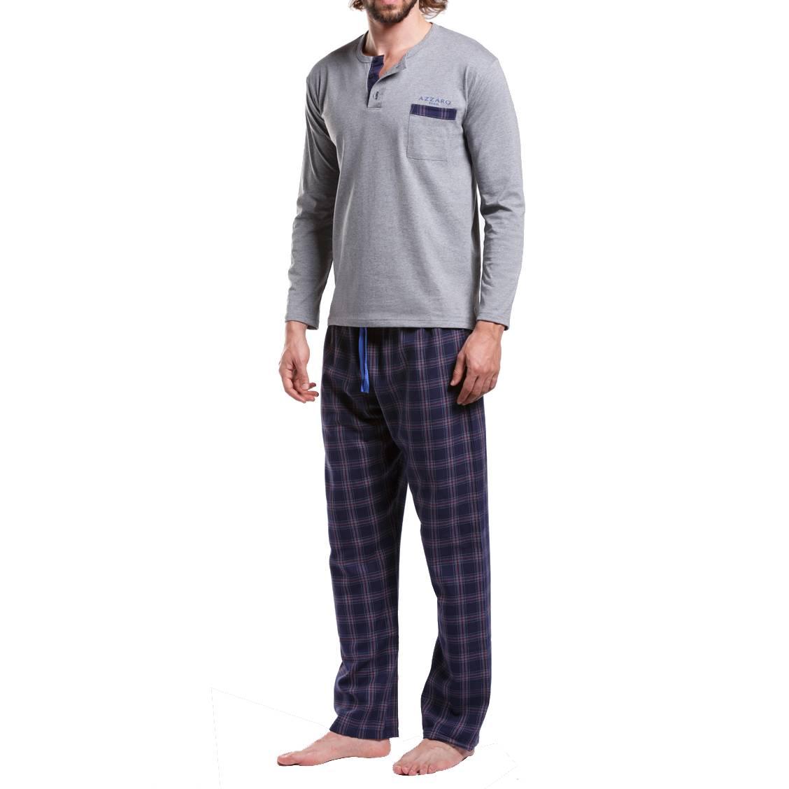 Pyjama long Azzaro en coton : tee-shirt manches longues col tunisien gris chiné et pantalon à carreaux bleu marine, rouges et blancs