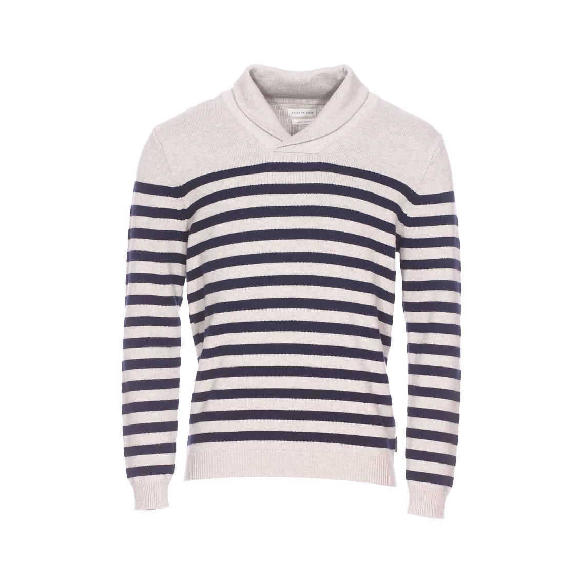 Pull col châle Harris Wilson Rob en coton et laine gris chiné à rayures bleu marine