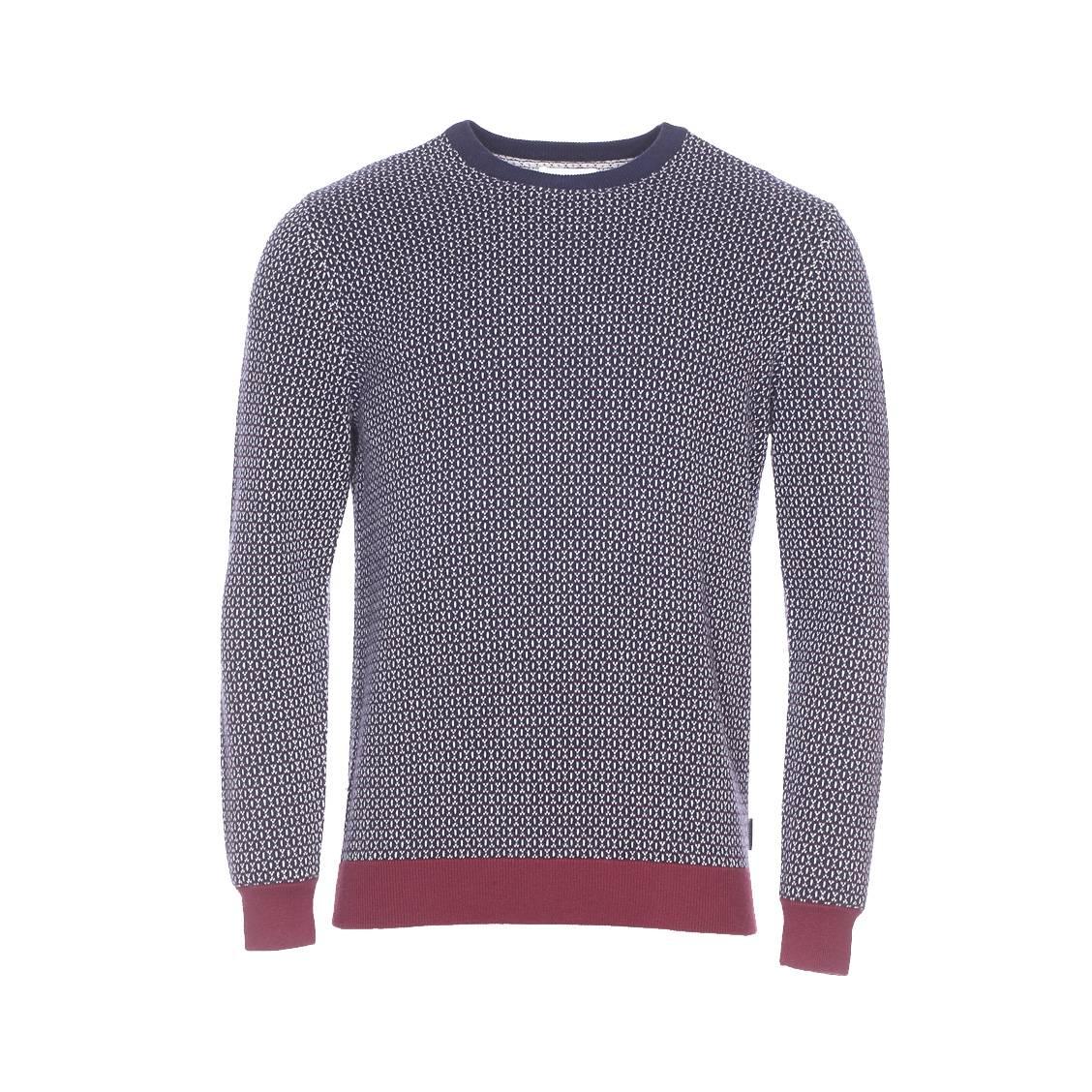 Pull Harris Wilson Richelieu en coton et en laine bleu marine à motifs  jacquard écru ...