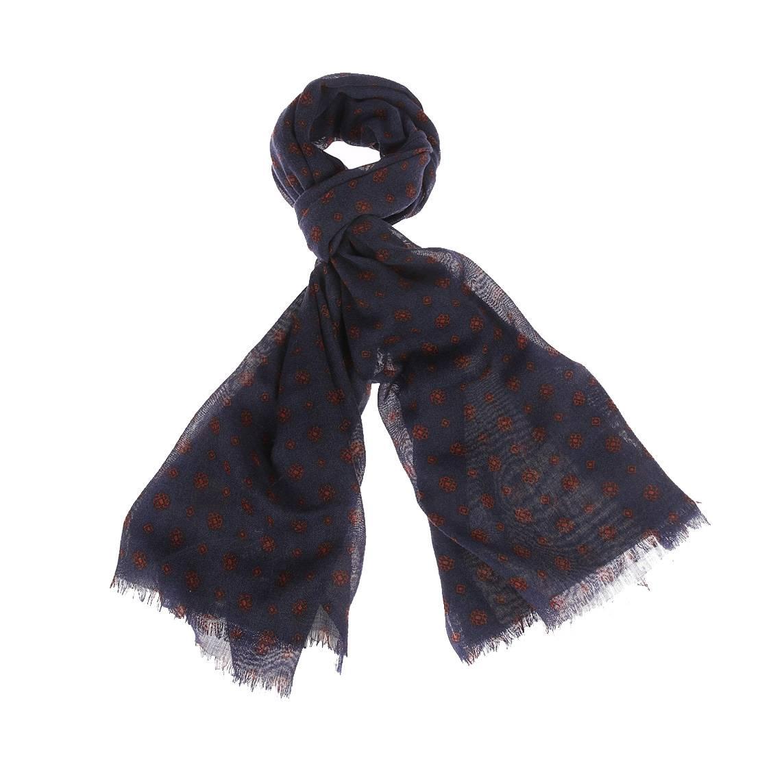Chèche  en laine bleu marine à motifs marron et noirs
