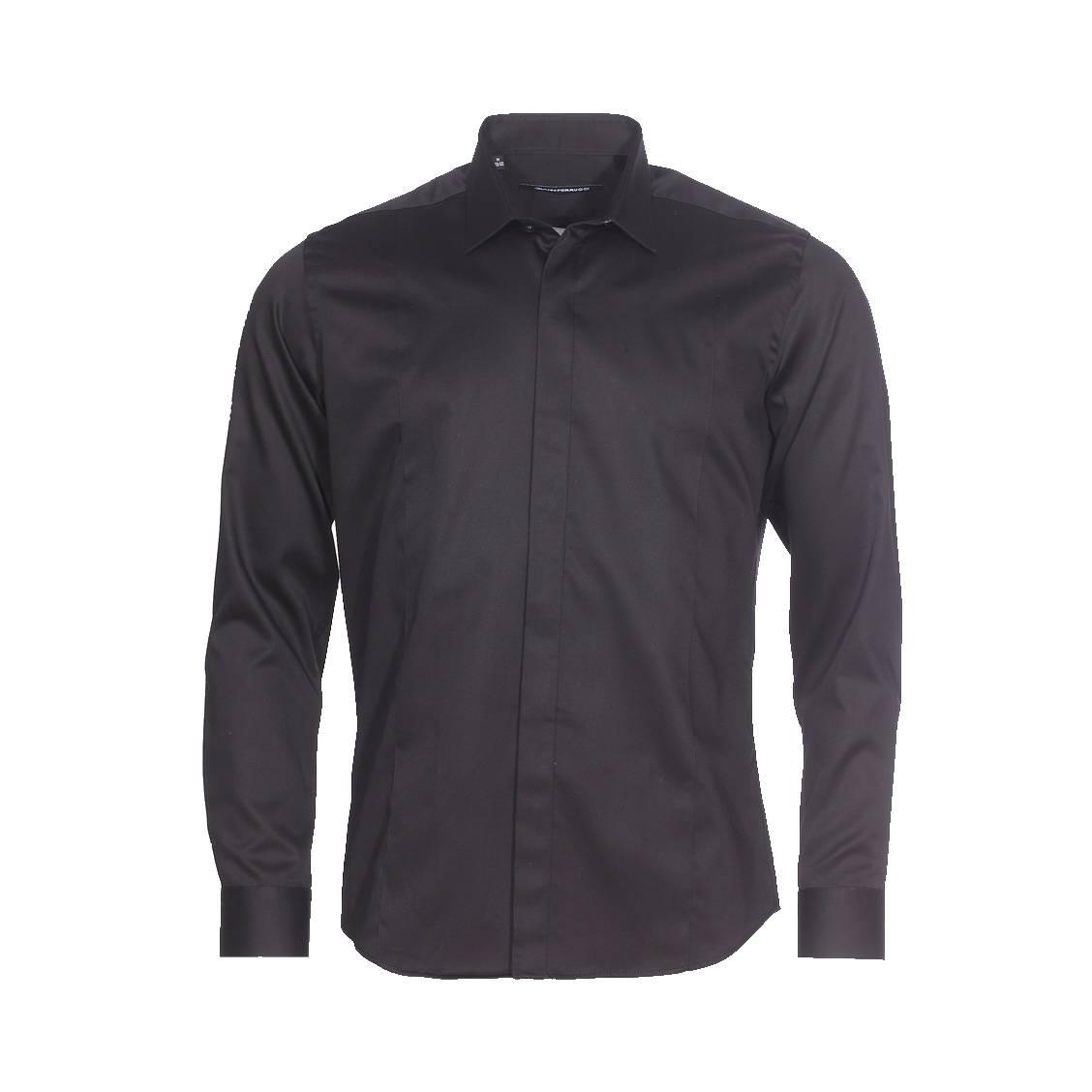 Chemise cintrée  en coton noir à boutonnière dissimulée