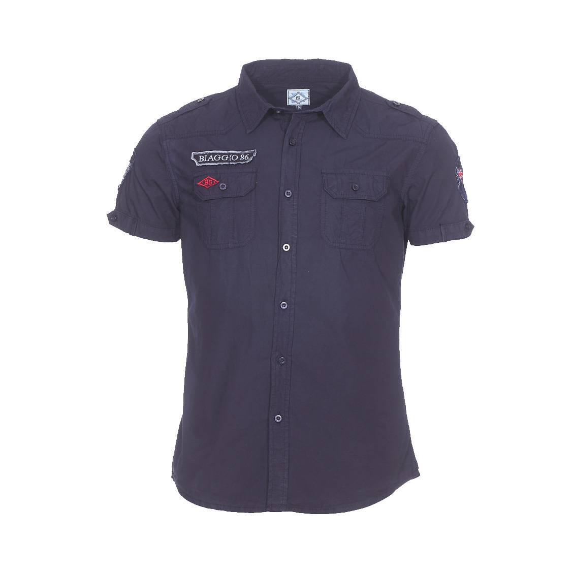 Chemise manches courtes  conleta en coton bleu marine army