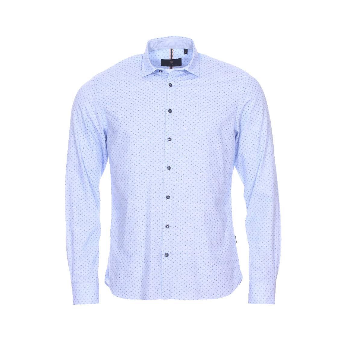 Chemise Izac en coton bleu ciel à motifs fleuris bleues