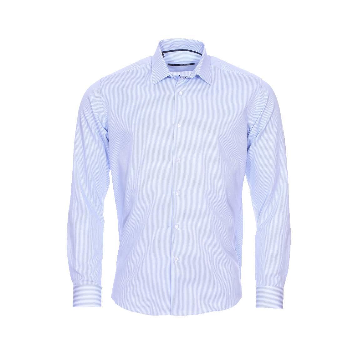Chemise cintrée  à rayures bleu ciel