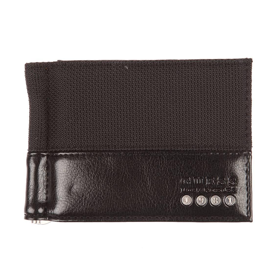 Portefeuille italien guess en nylon et cuir vernis noir