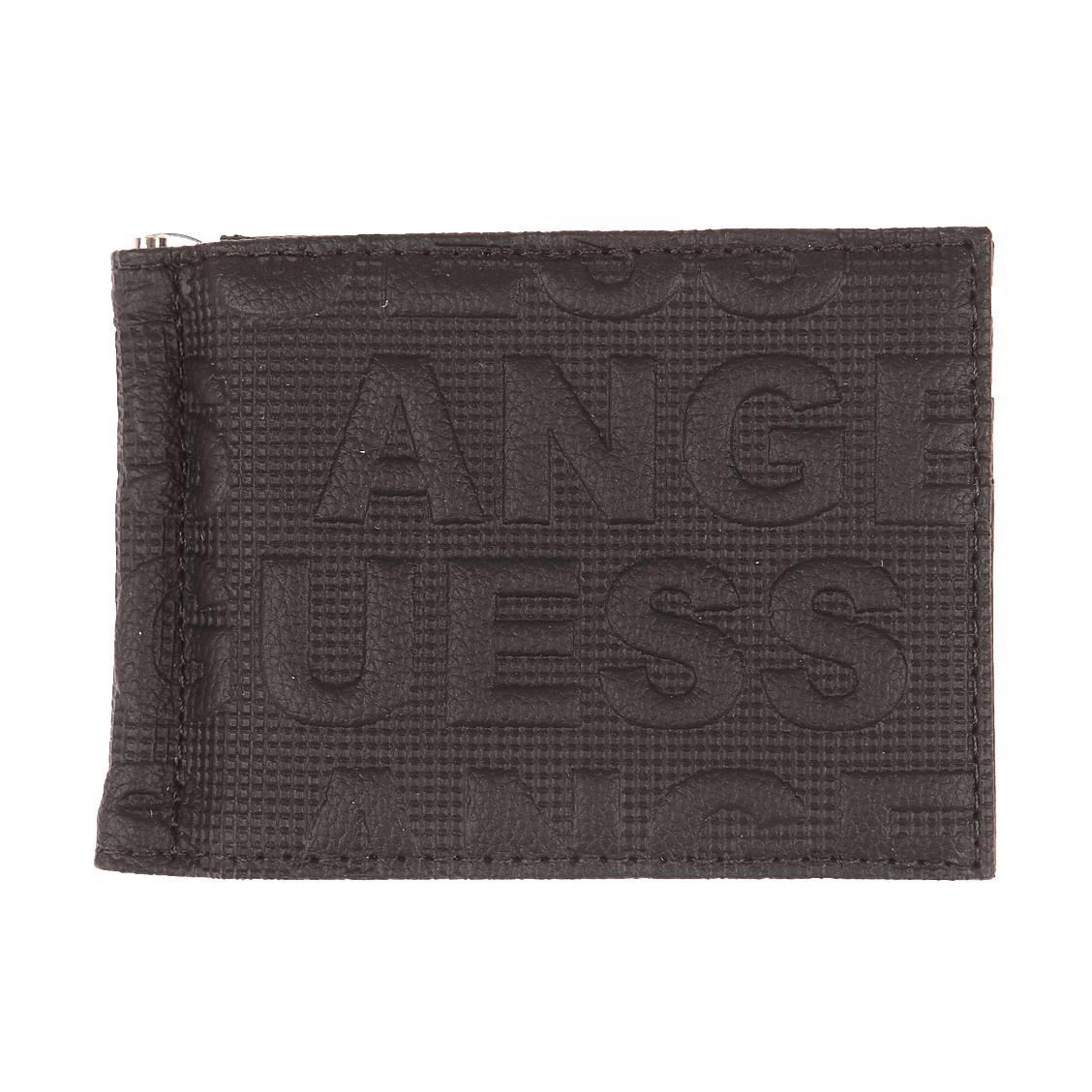 640cceff1a Portefeuille Guess en cuir noir monogrammé Guess Los Angeles | Rue ...