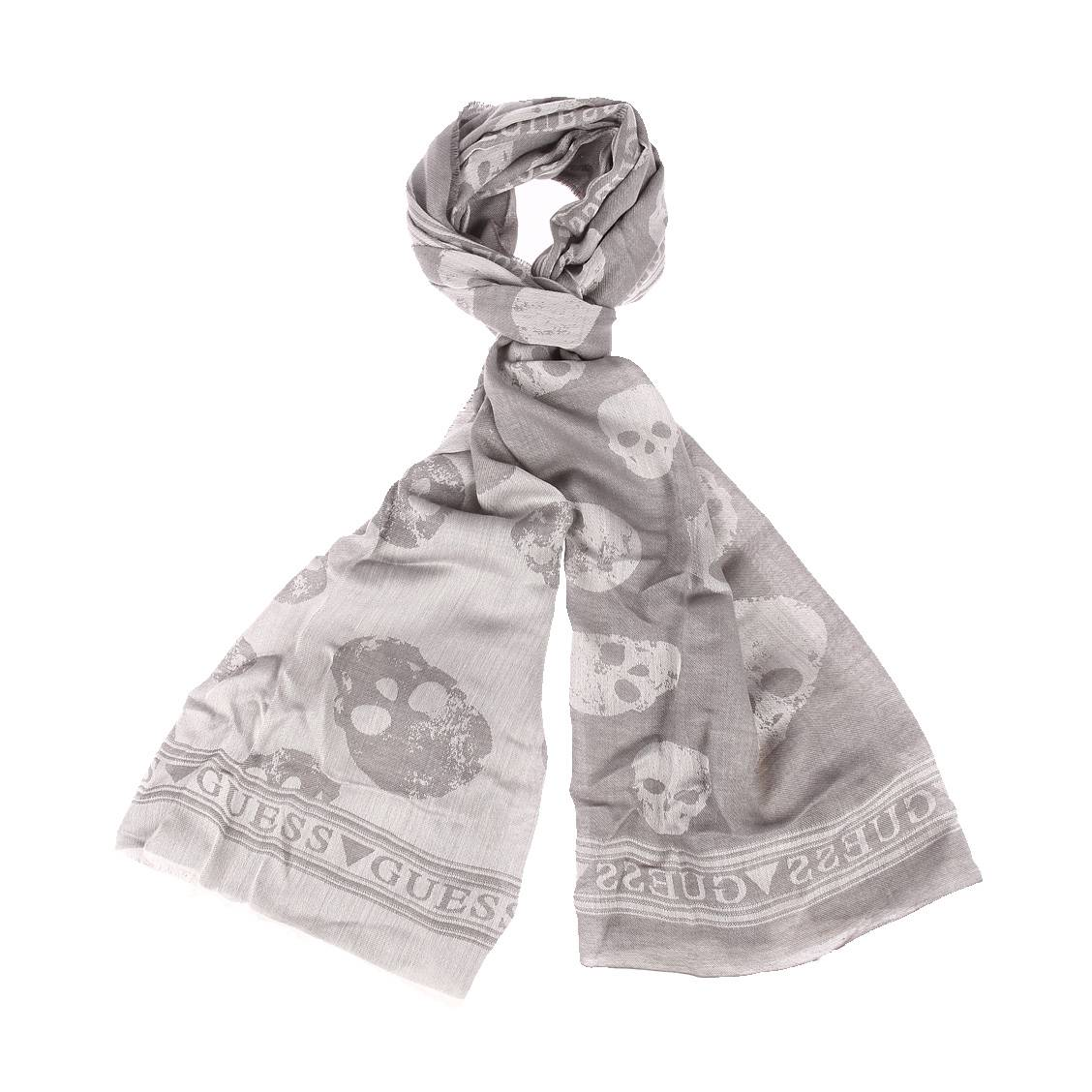 Chèche  en coton et modal gris à motifs tête de mort et à carreaux