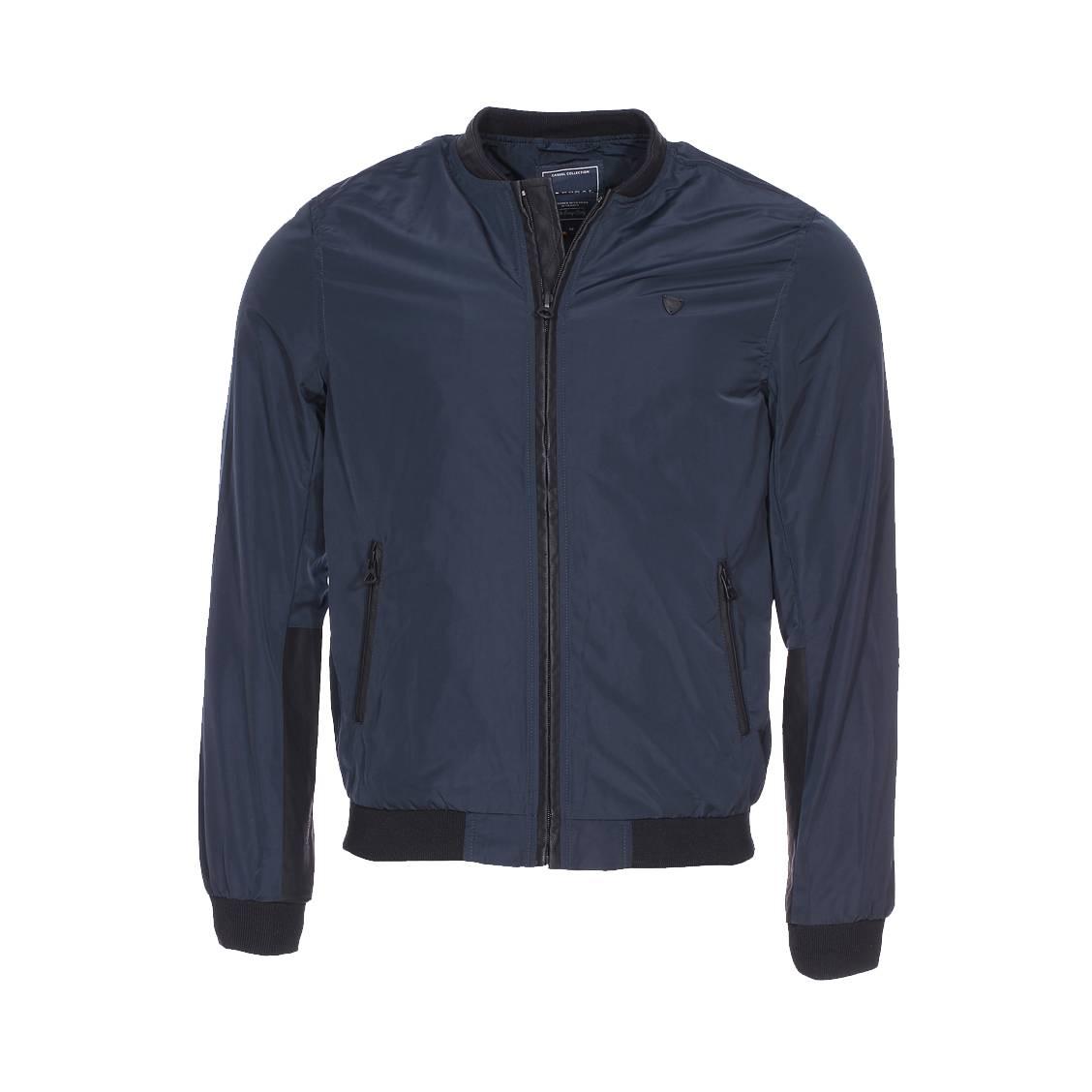 Blouson zippé  bleu marine à empiècements en simili cuir noir