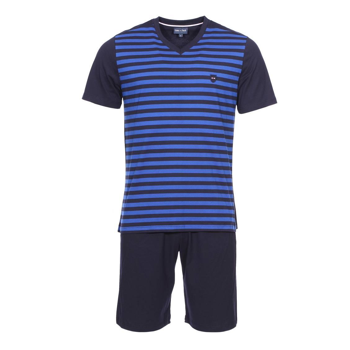 Pyjama court  en coton : tee-shirt manches courtes col v bleu marine à rayures bleu électrique, short bleu marine