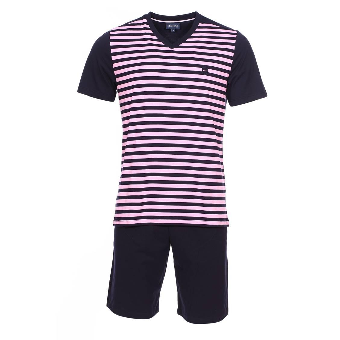 Pyjama court  en coton : tee-shirt manches courtes col v bleu marine à rayures roses et short bleu marine