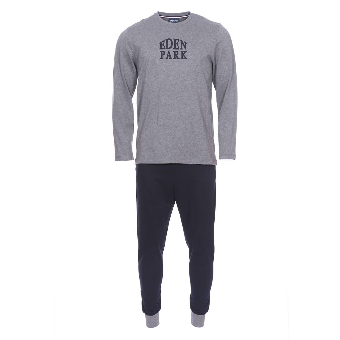pyjama long eden park en coton tee shirt manches longues col rond gris et pantalon bleu marine. Black Bedroom Furniture Sets. Home Design Ideas