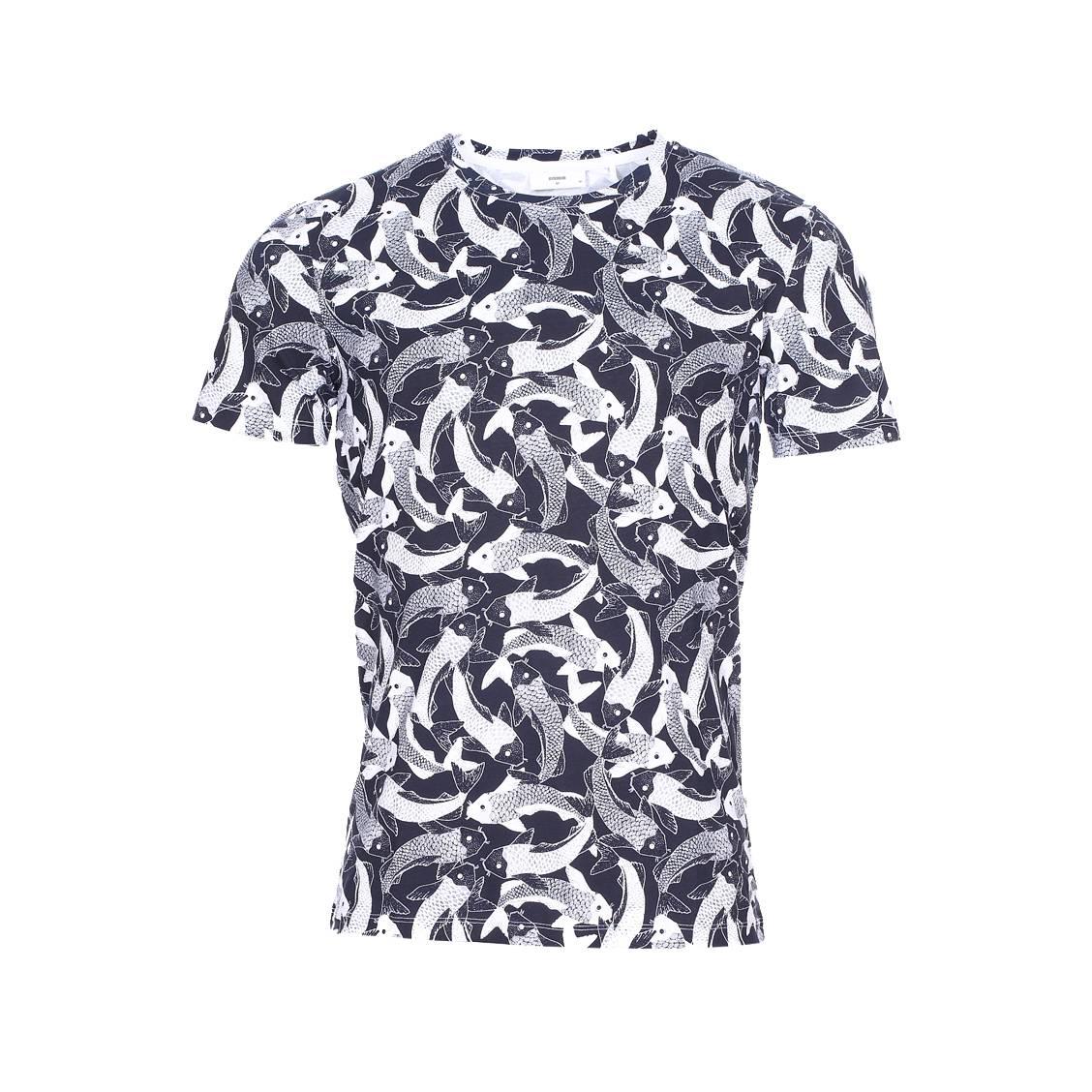 aa4d911efe2 Tee-shirt col rond Minimum en coton à motifs poissons bleu marine et blancs  ...