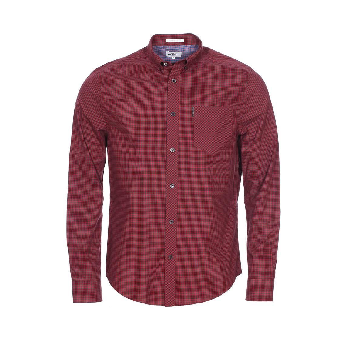 Chemise ajustée  rouge à petits carreaux