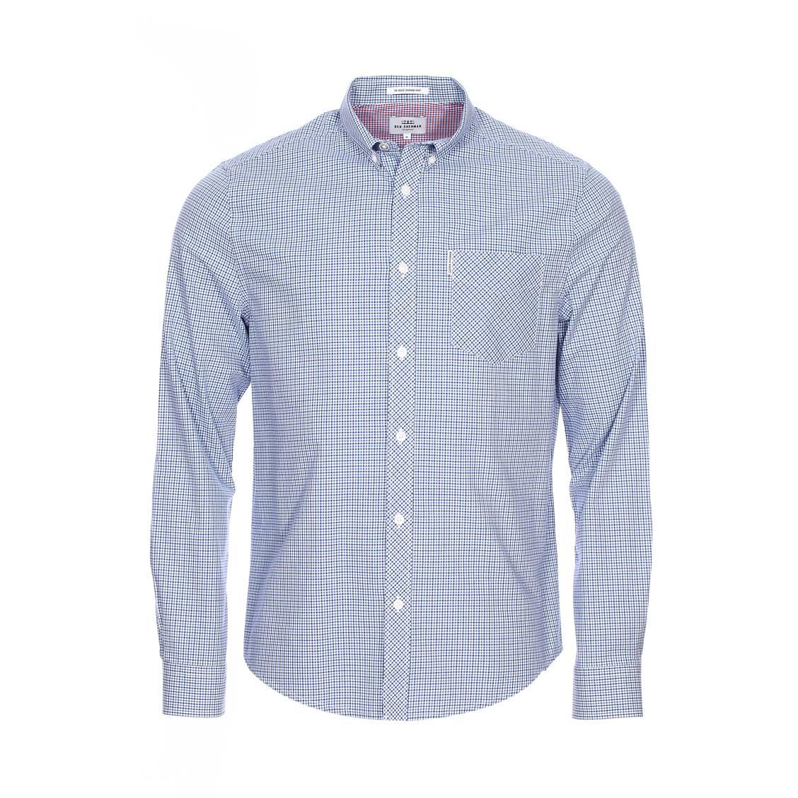 Chemise ajustée  bleu clair à petits carreaux