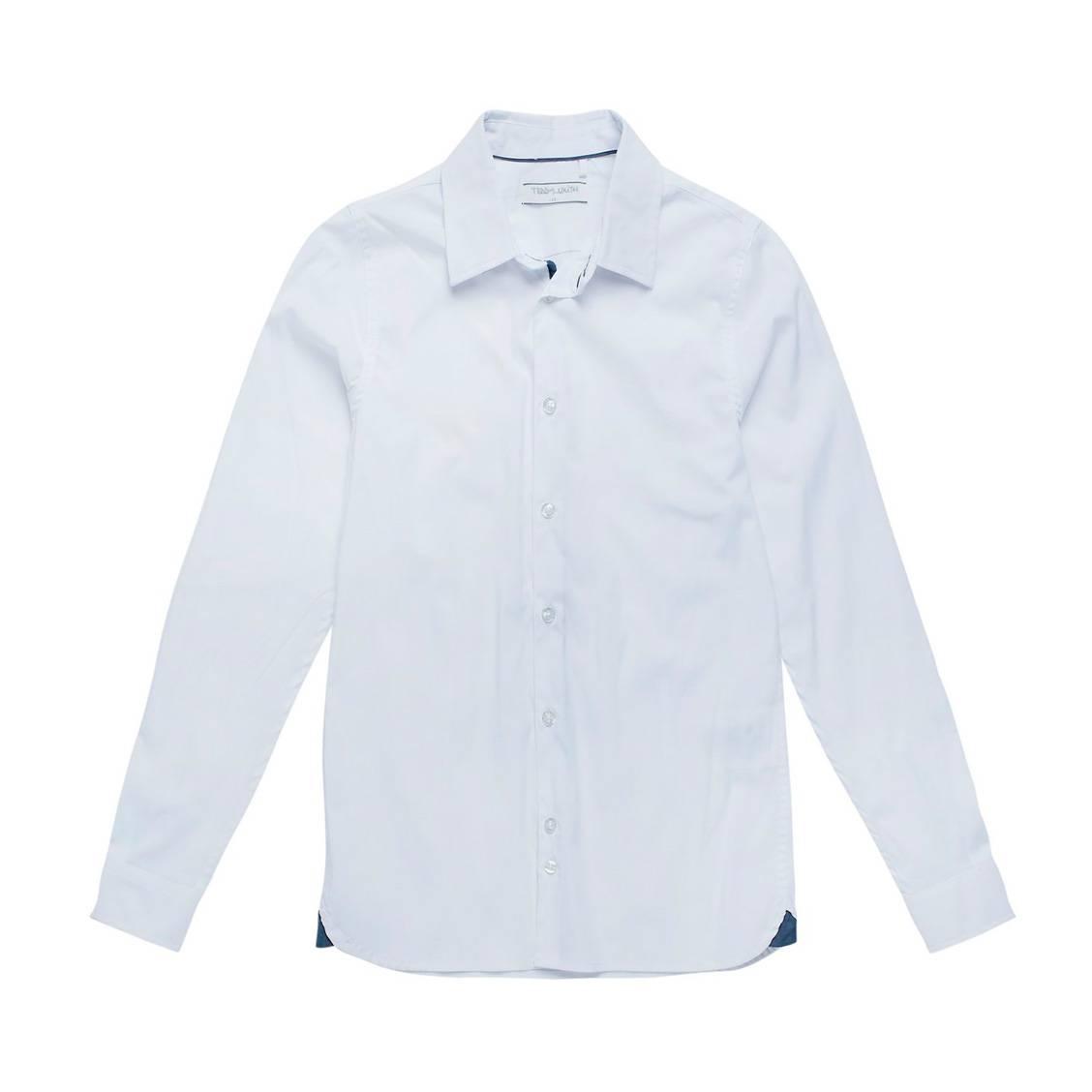 Chemise  clovis blanche à liserés bleu jean