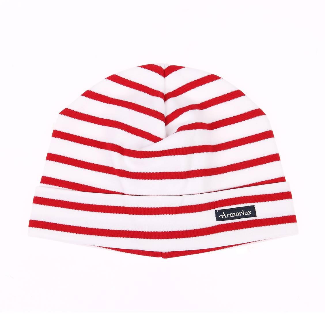 Bonnet rayé Treguier Armor Lux blanc et rouge