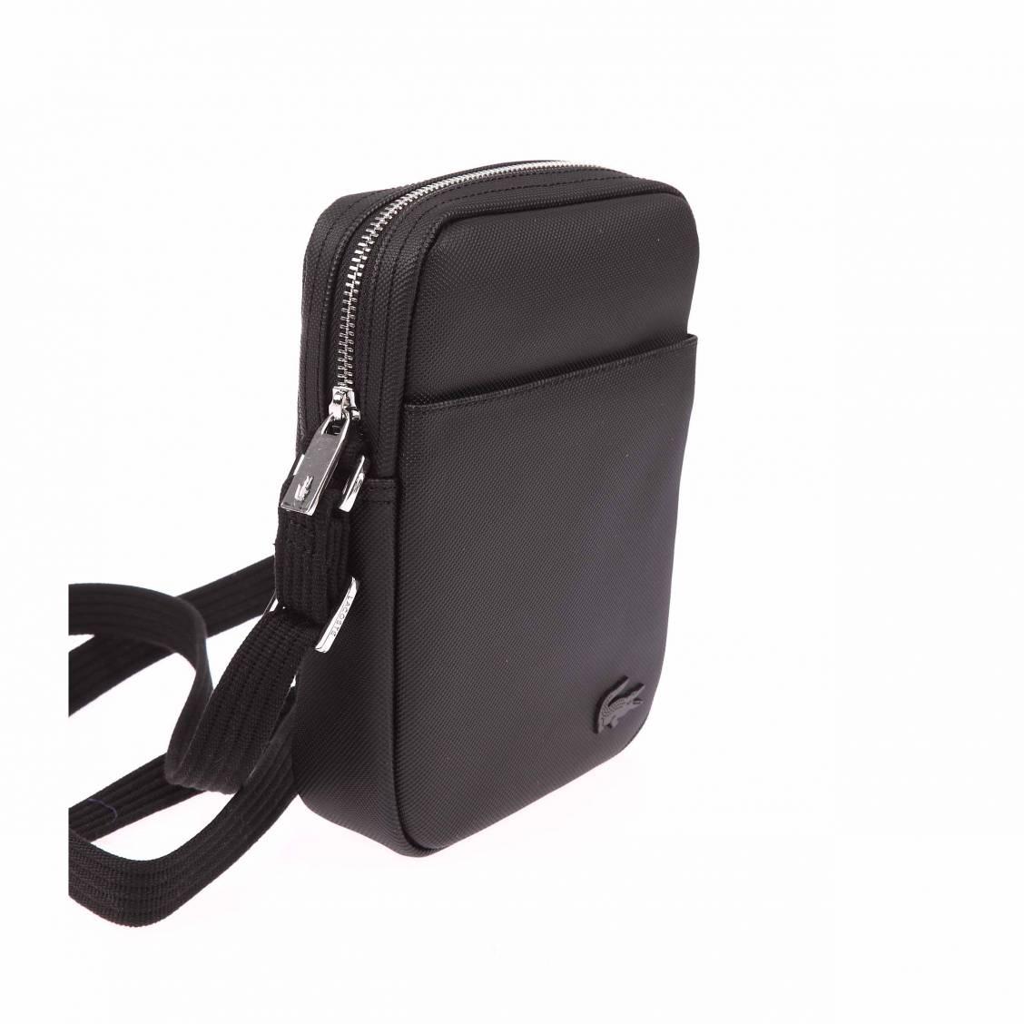 Sacoche Lacoste en PVC piqué noir avec logo NUzs1t99