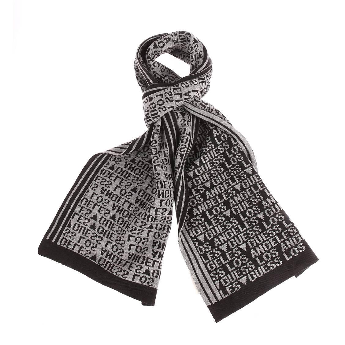 Echarpe guess grise et noire monogrammée