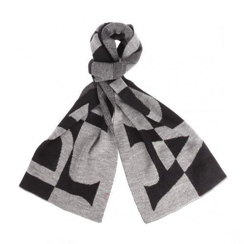 Coffret  : bonnet et écharpe gris et bleu marine