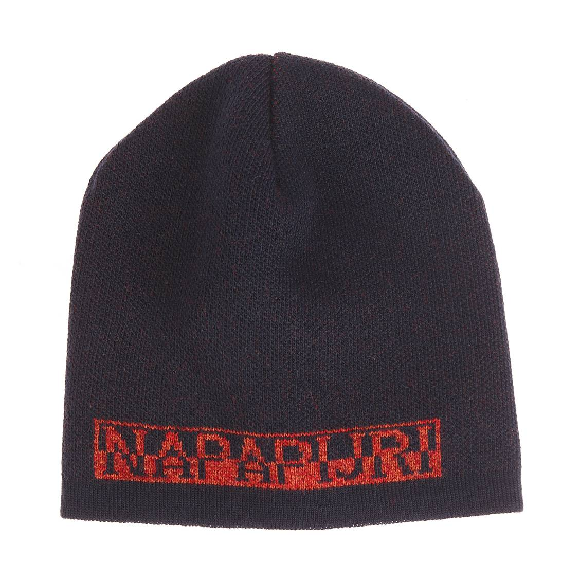 7da2631d645 1 · Box Napapijri avec un bonnet et une echarpe bleu marine et orange ...