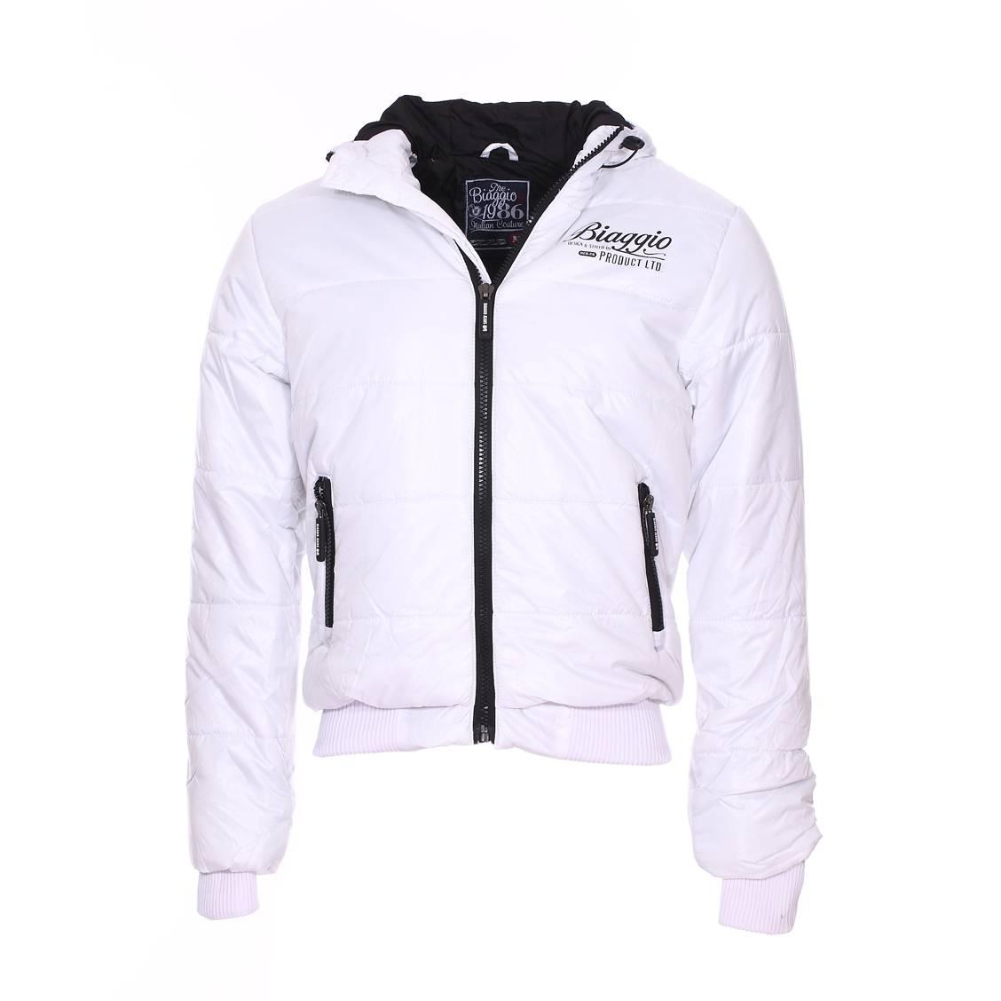 Doudoune à capuche  blanche à détails noirs