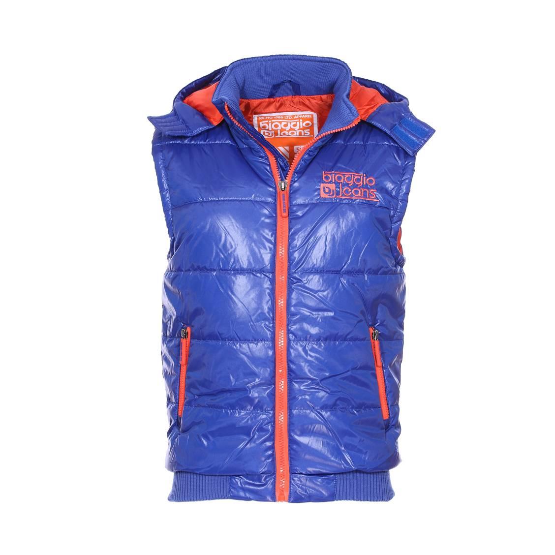 Doudoune sans manches à capuche amovible  bleu royal à détails orange