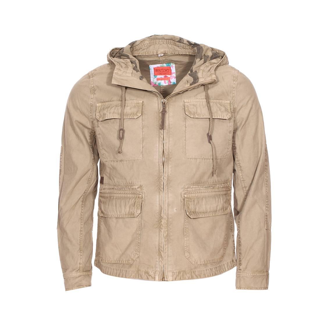 Veste saharienne zippée  en coton beige à capuche