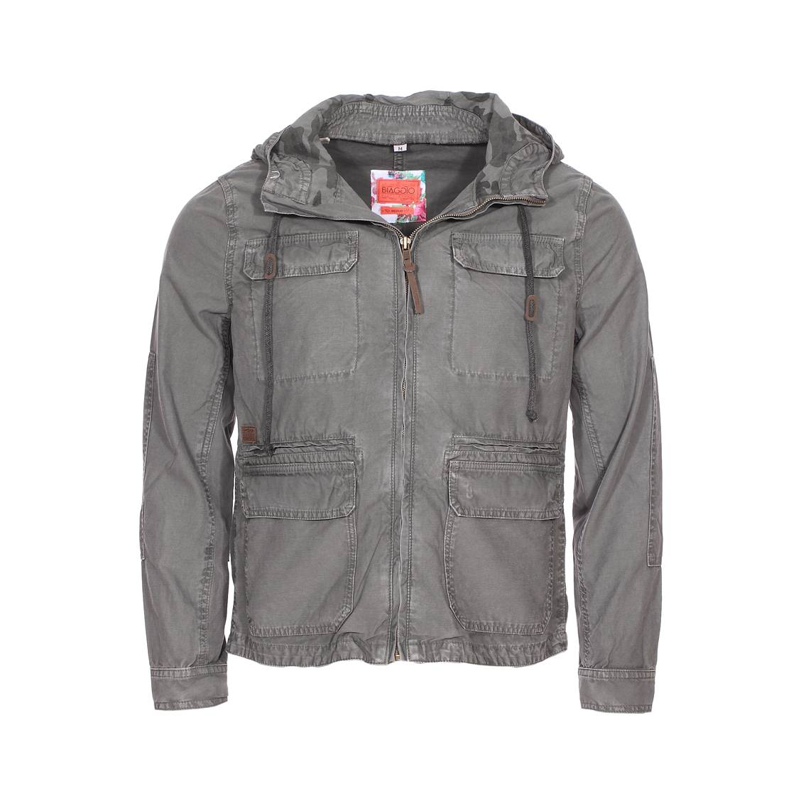 Veste saharienne zippée  en coton gris anthracite à capuche