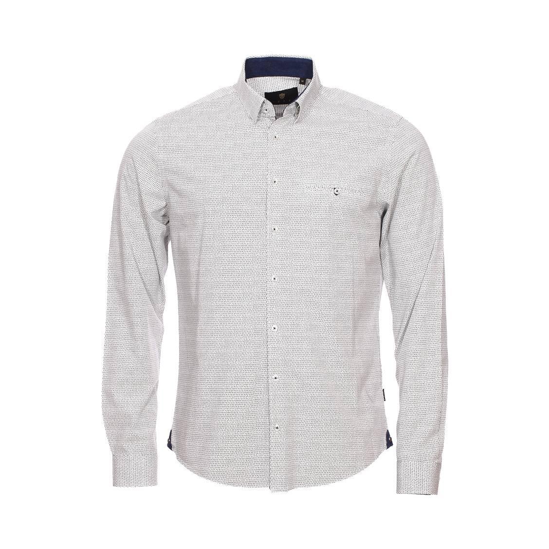 Chemise ajustée Izac en coton blanc à motifs beiges et bleu marine