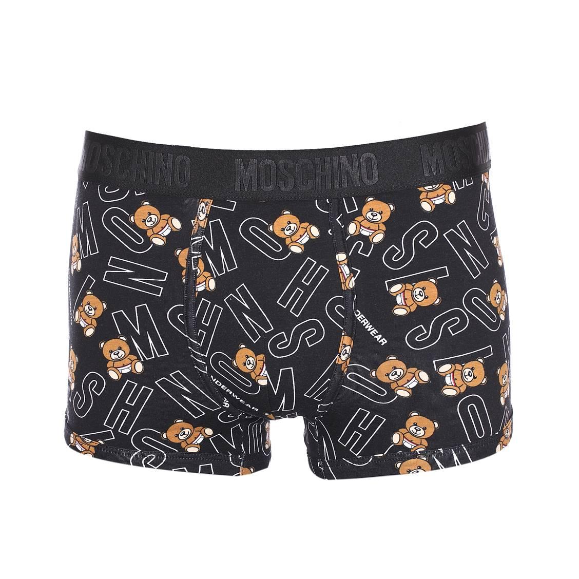 Boxer  en coton stretch noir à motifs oursons