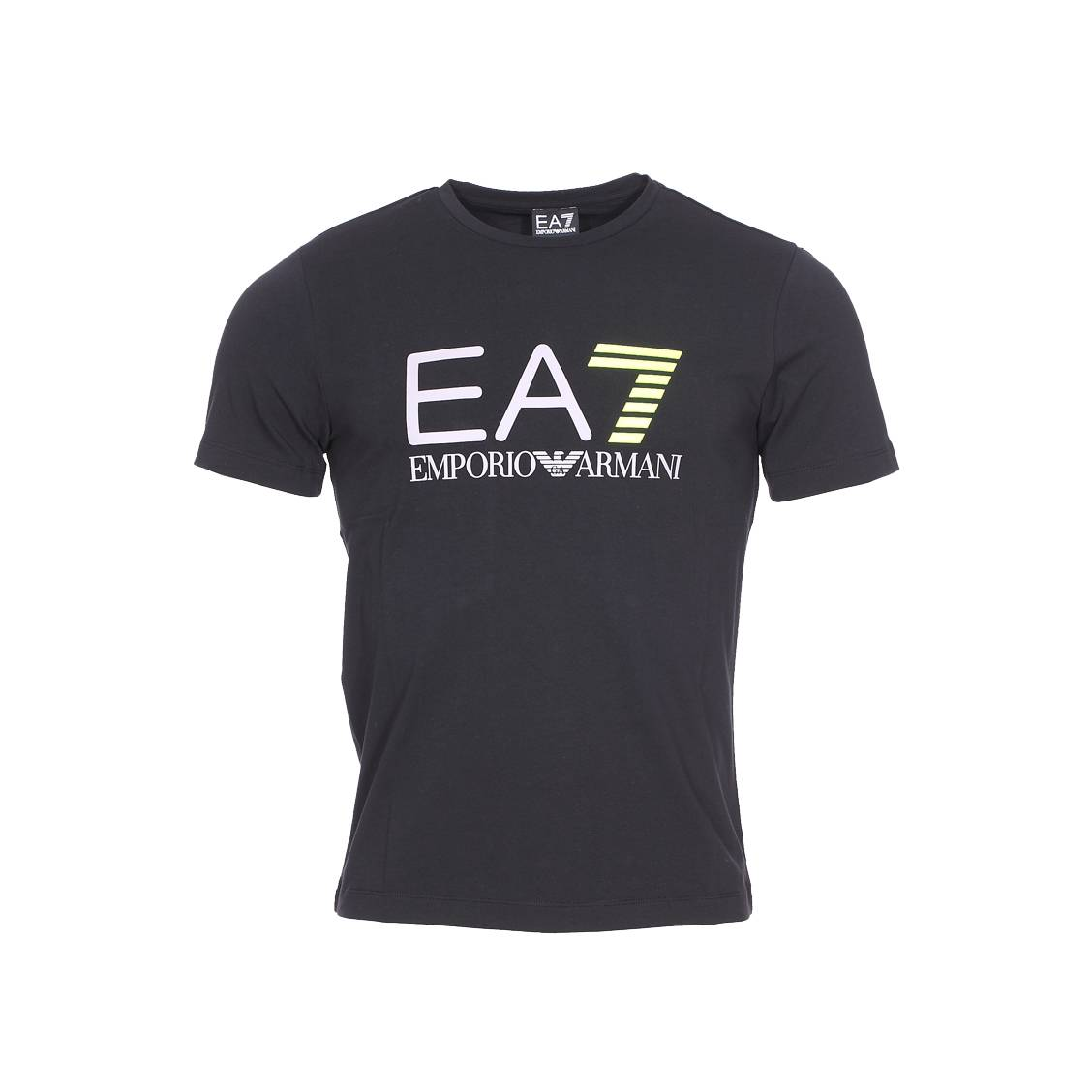 tee shirt col rond ea7 en coton noir floqu du logo en gris et jaune fluo rue des hommes. Black Bedroom Furniture Sets. Home Design Ideas
