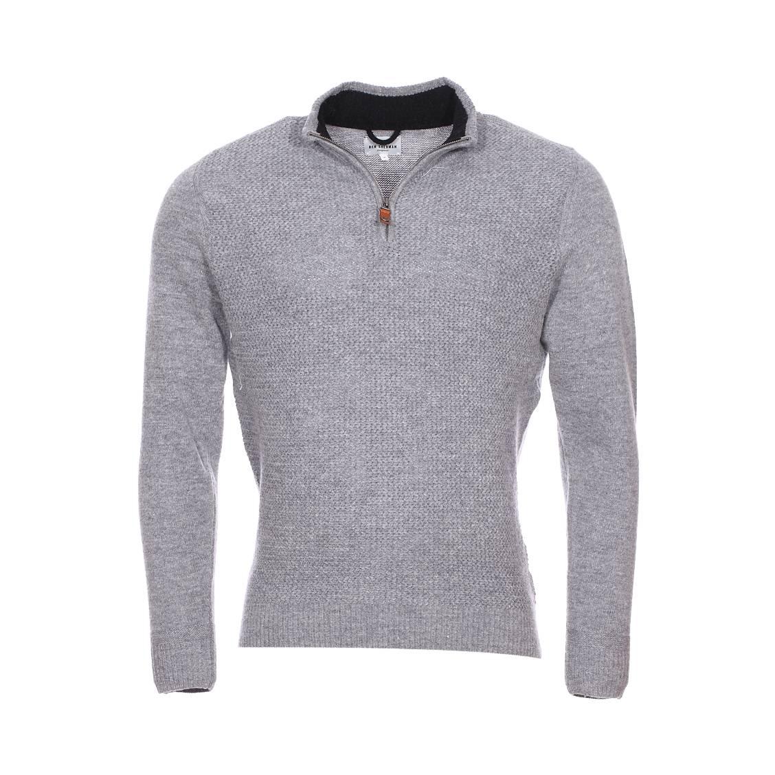 Pull col montant zippé  en laine mélangée gris chiné