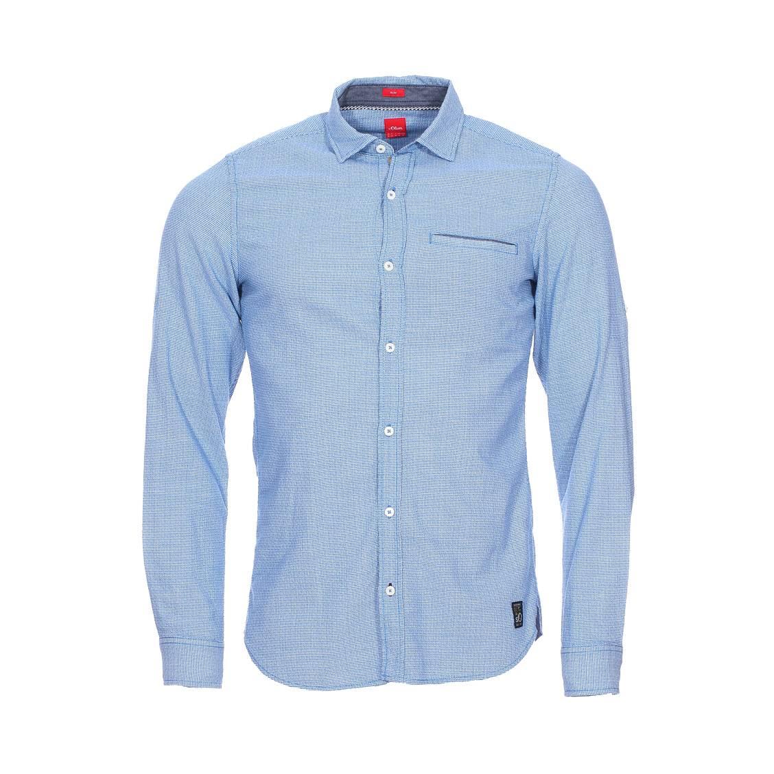 Chemise cintrée  en coton à petits carreaux bleus et blancs