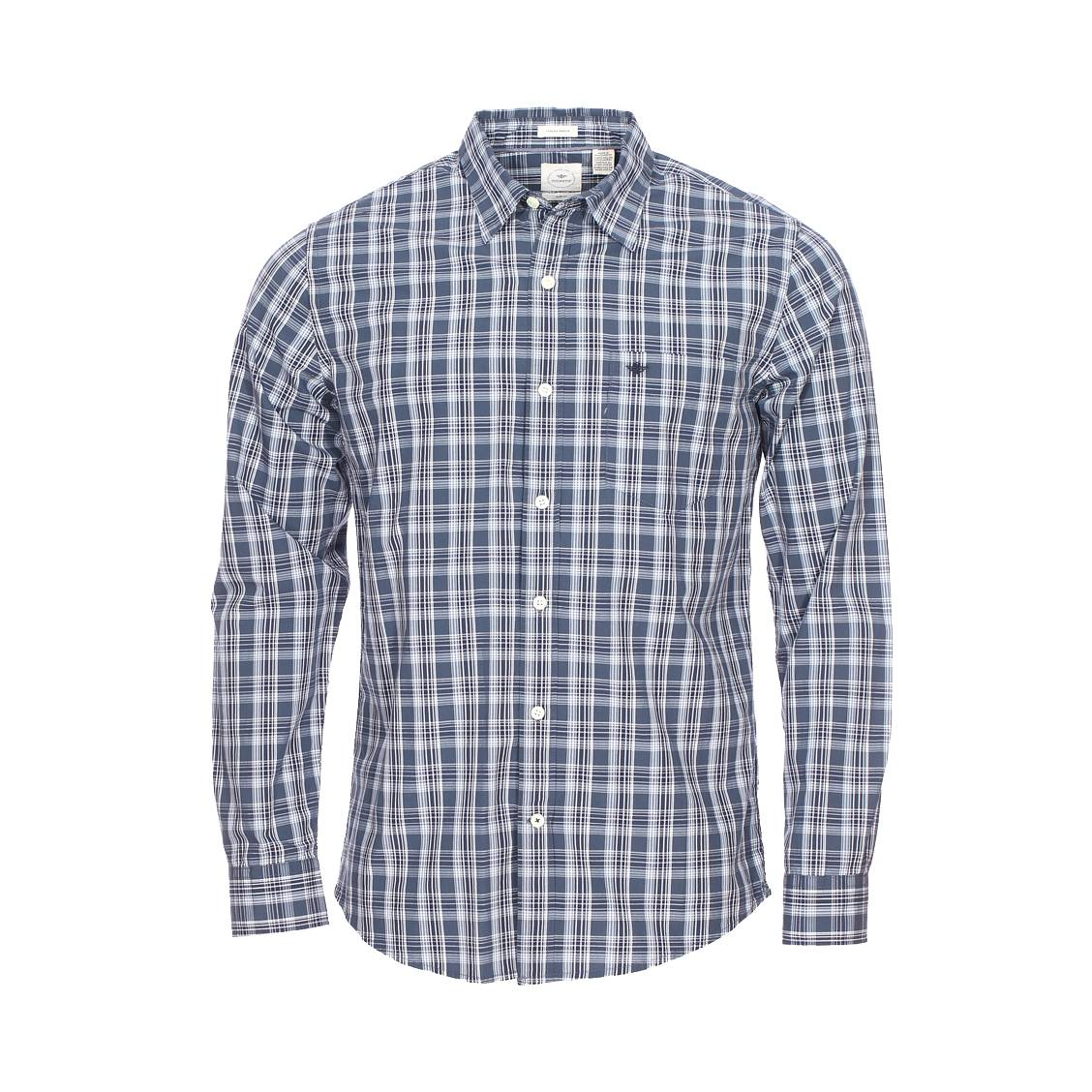 Chemise cintrée Dockers en popeline de coton à carreaux bleus et blancs