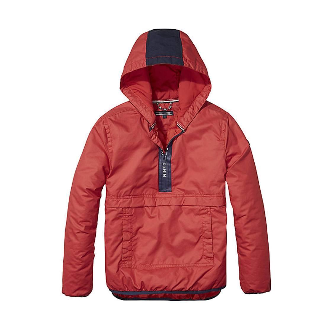 59e23859ad75 AnorakTommy Hilfiger rouge avec logo imprimé au dos ...