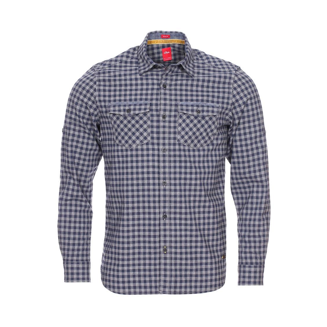 Chemise droite  en coton à carreaux bleu marine et gris