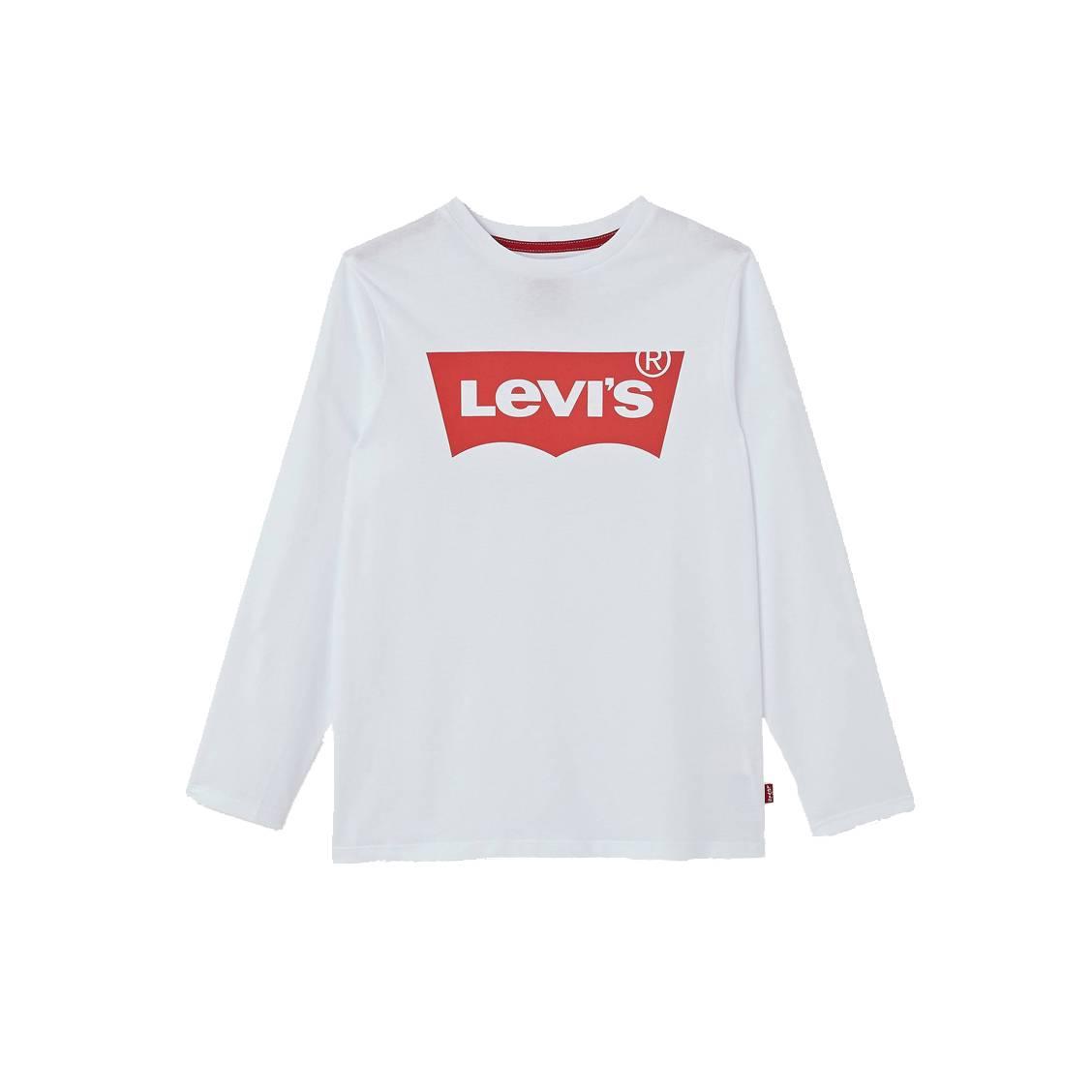 Tee-shirt manches longues col rond Levi s Junior en coton blanc ... c628db8120d7
