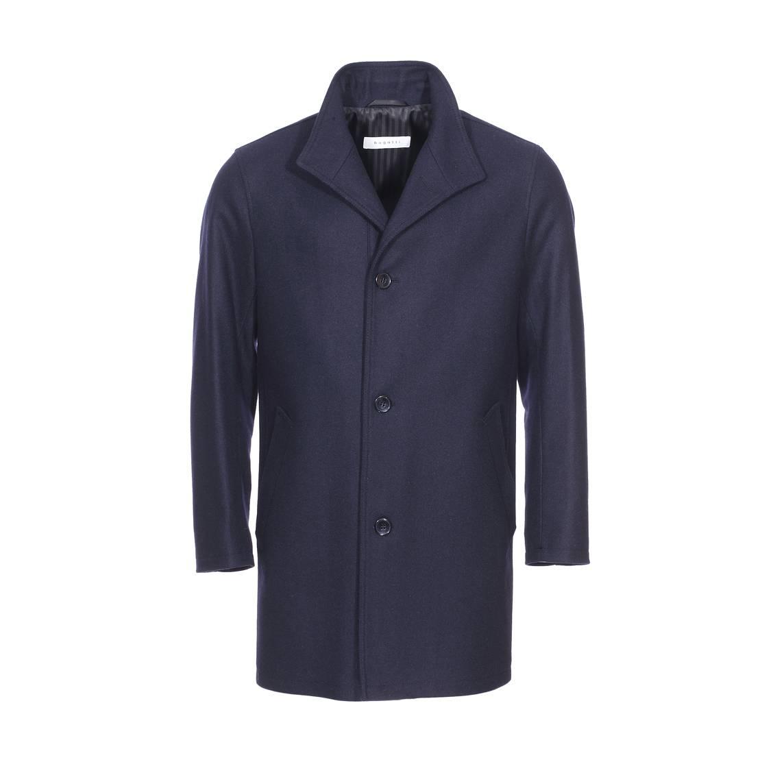 Manteau long Bugatti en laine mélangée bleu marine   Rue Des