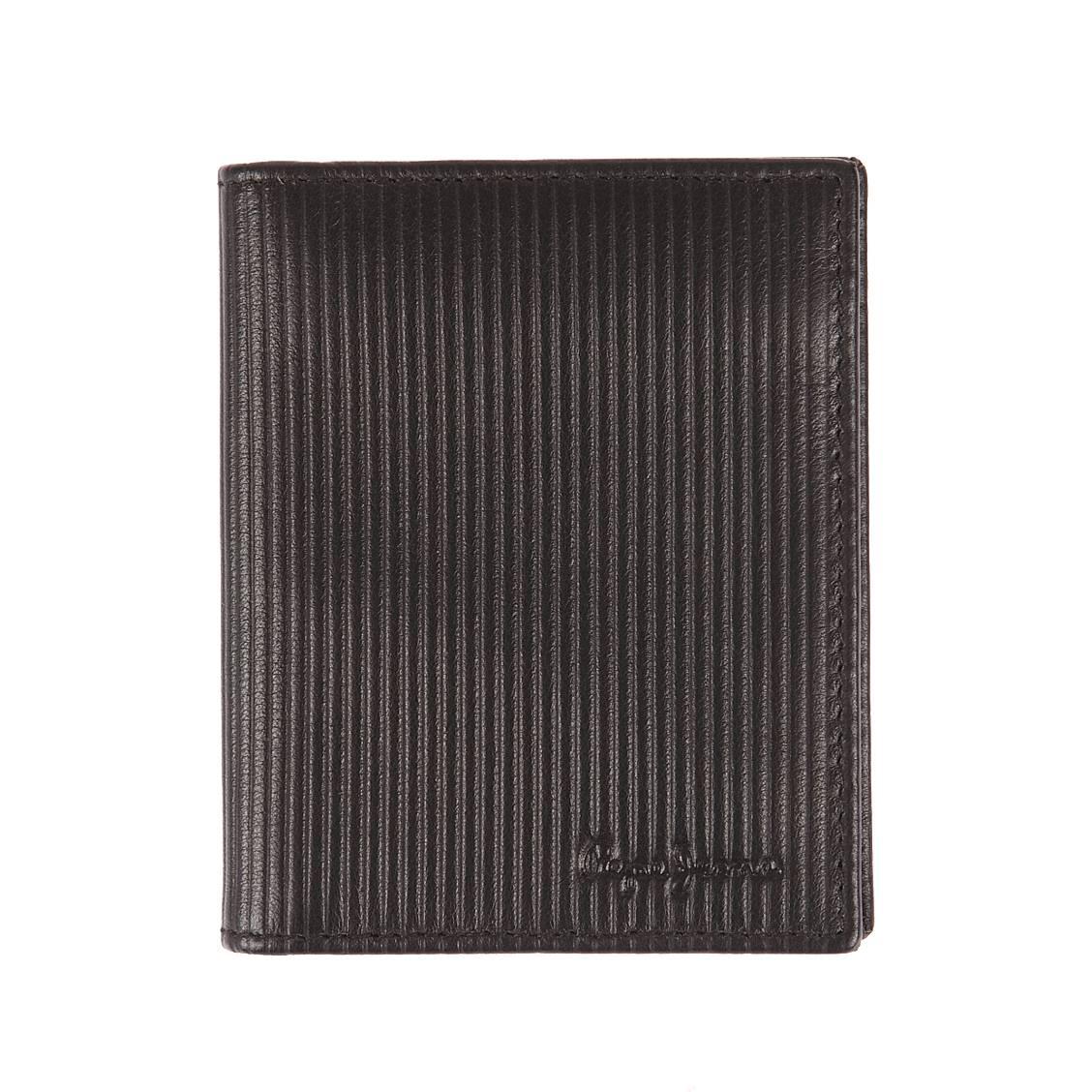 Porte-cartes européen 2 volets pepe jeans en cuir noir strié