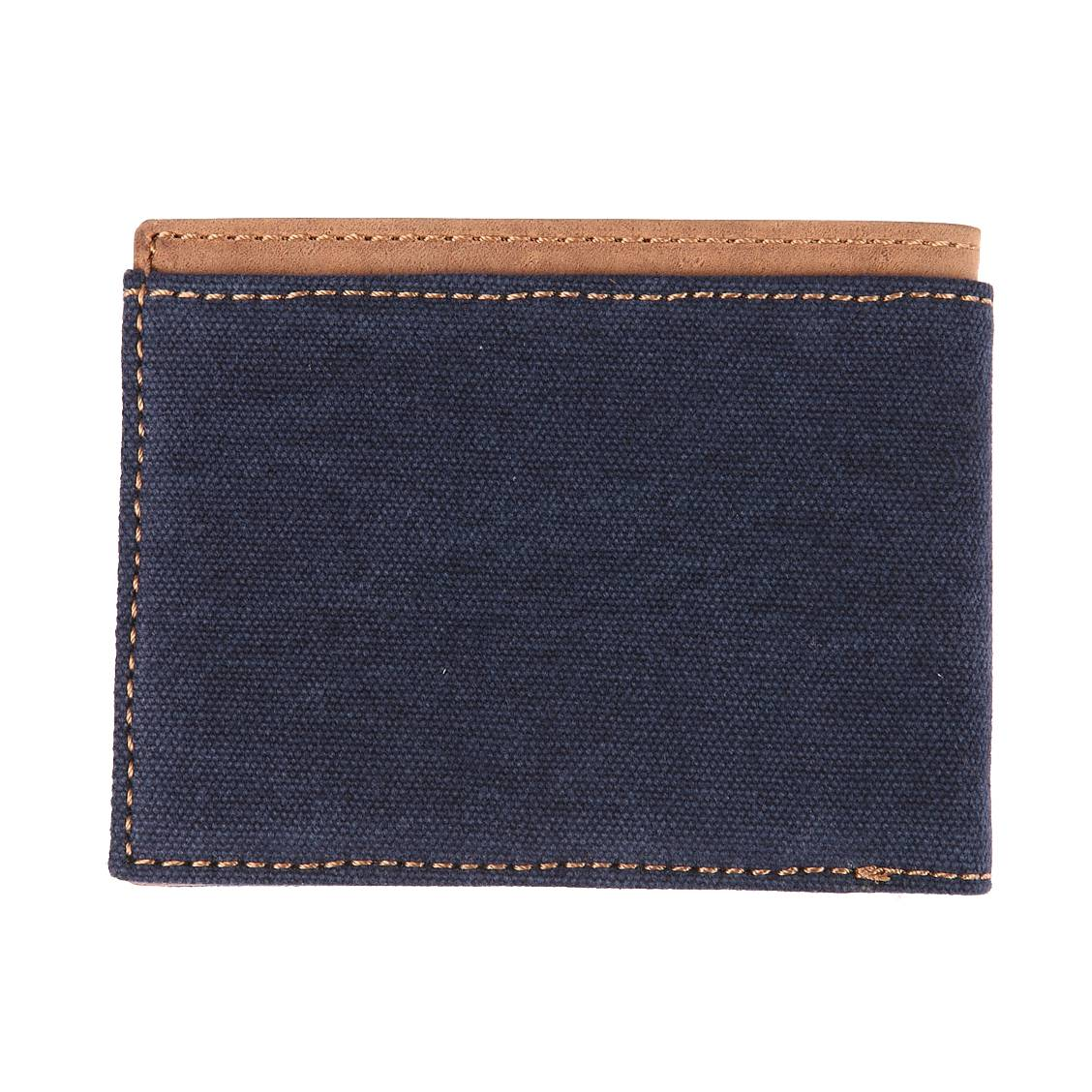 portefeuille italien 2 volets pepe jeans en toile bleu jean et cuir marron rue des hommes. Black Bedroom Furniture Sets. Home Design Ideas