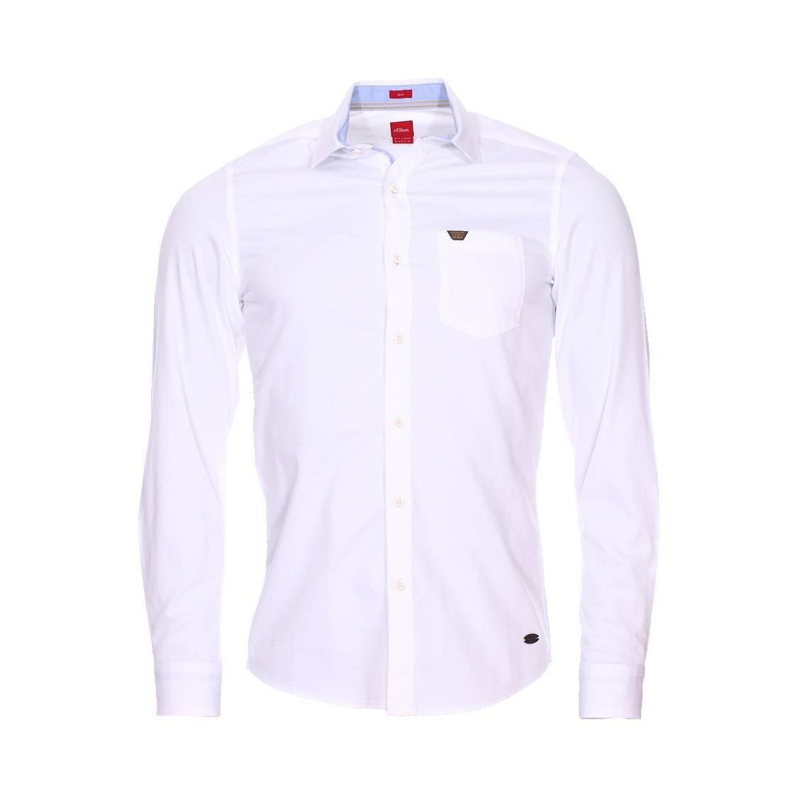 Chemise cintrée  en coton blanc à opposition bleu clair