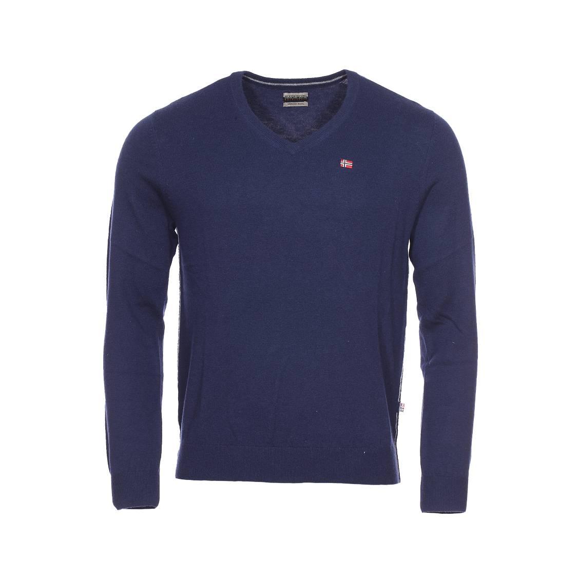 Pull col V Napapijri Damavand en laine bleu marine   Rue Des Hommes d081fd551b4f