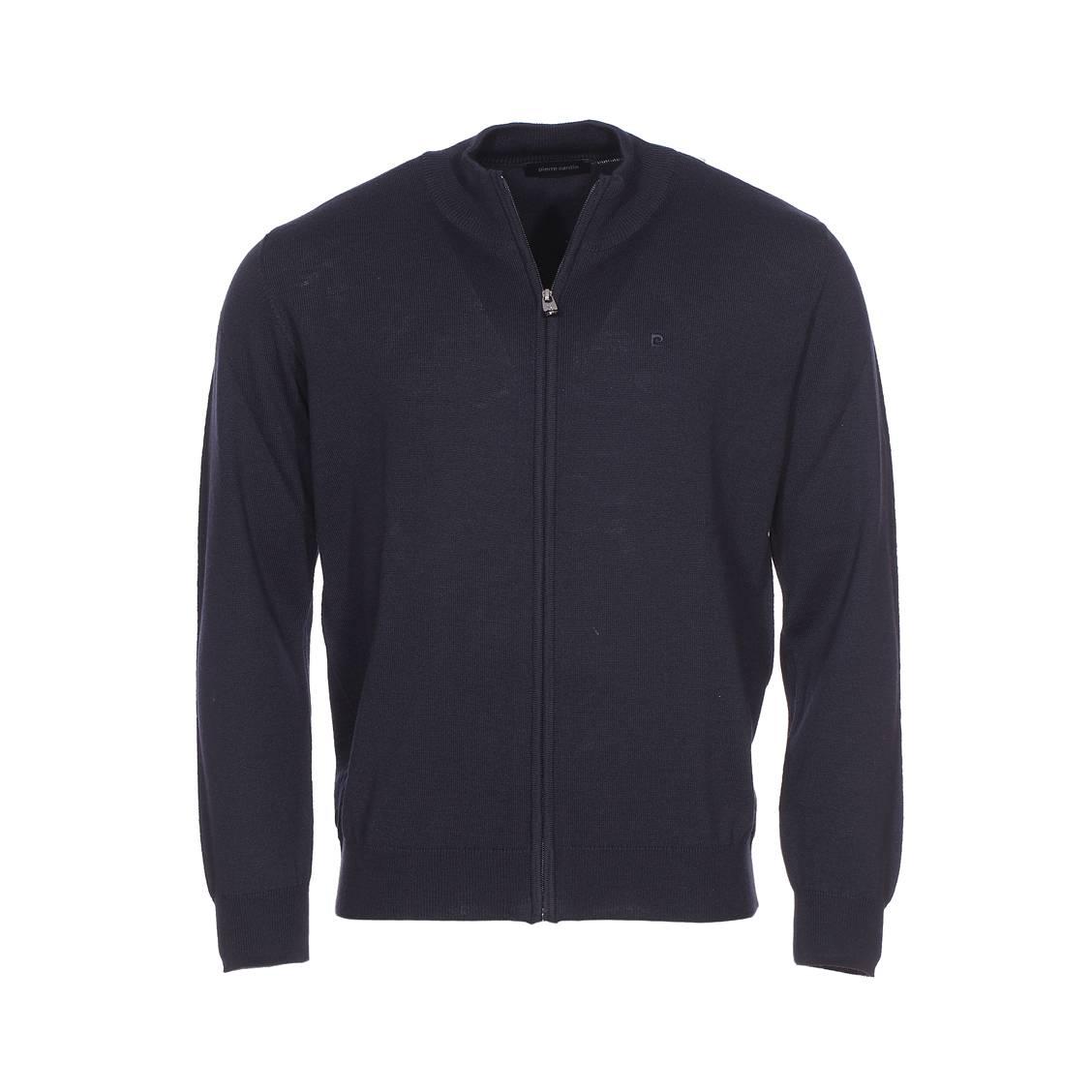 Gilet zippé Pierre Cardin en laine mélangée bleu marine