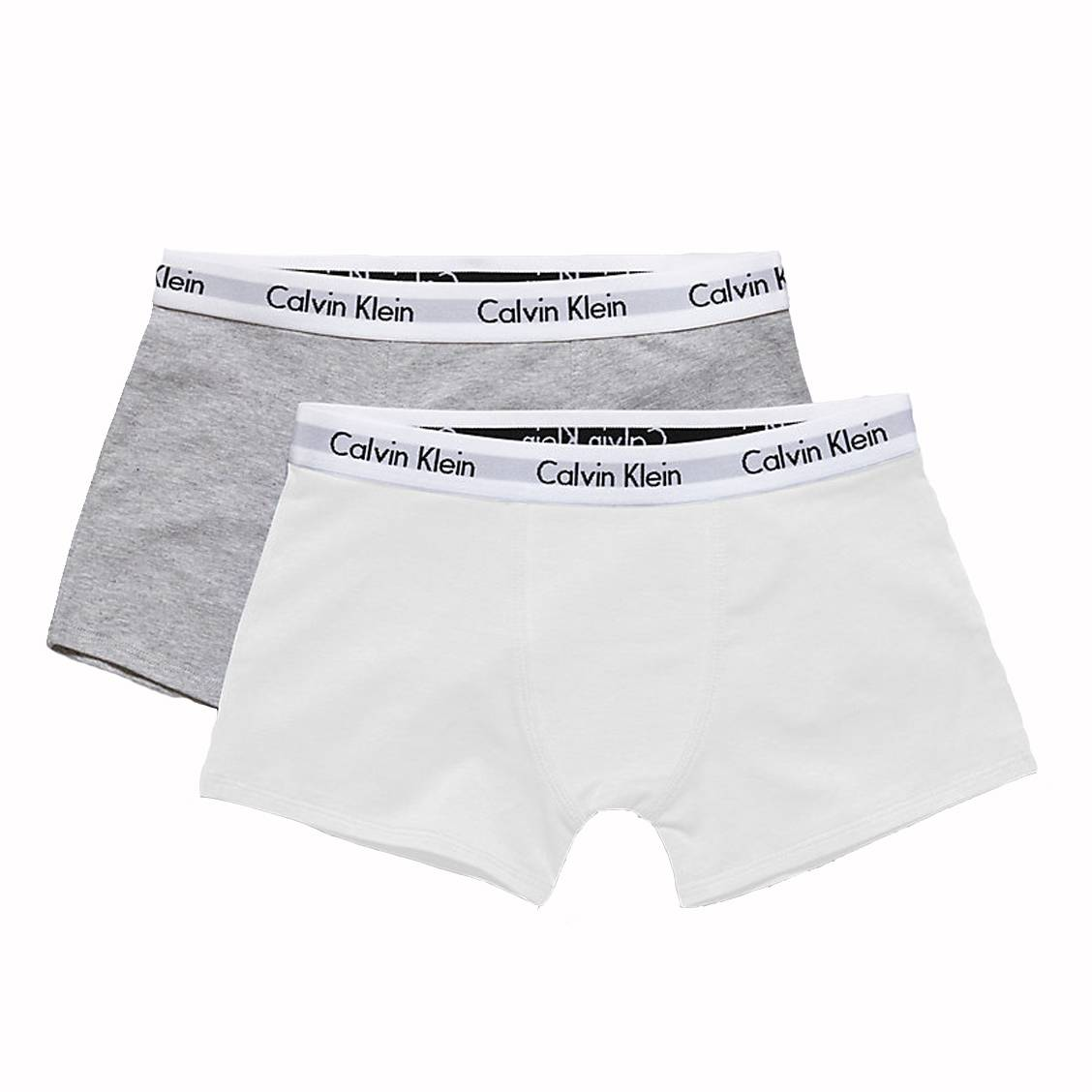 Lot de 2 boxers  en coton stretch blanc et gris chiné
